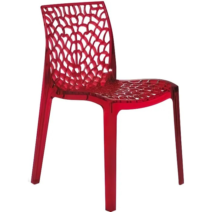 Chaise Rouge Transparente Gruyer Achat Vente Chaise