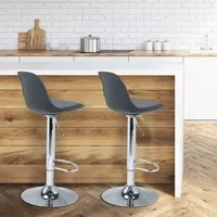meuble a casier lot de 2 tabourets de bar karl design gris