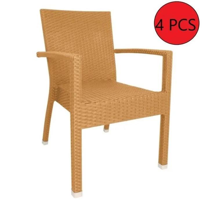 chaise rotin avec accoudoir naturel 4 unites