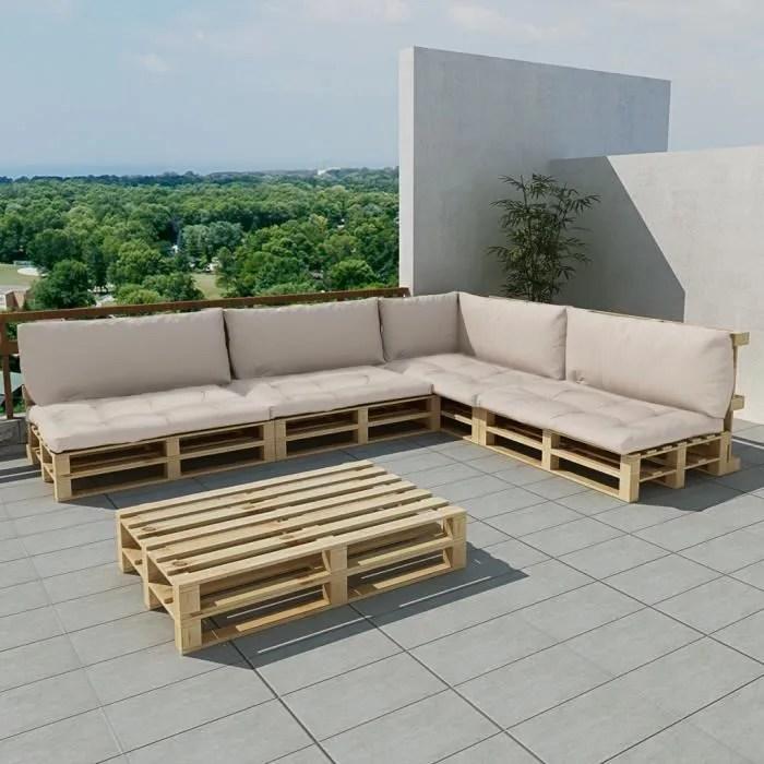salon de jardin 15 pcs en palette avec coussins blanc maja