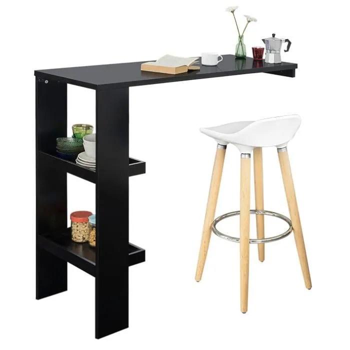 sobuy fwt55 sch table de bar murale table haute de bar mange debout cuisine avec 2 etageres de rangement noir