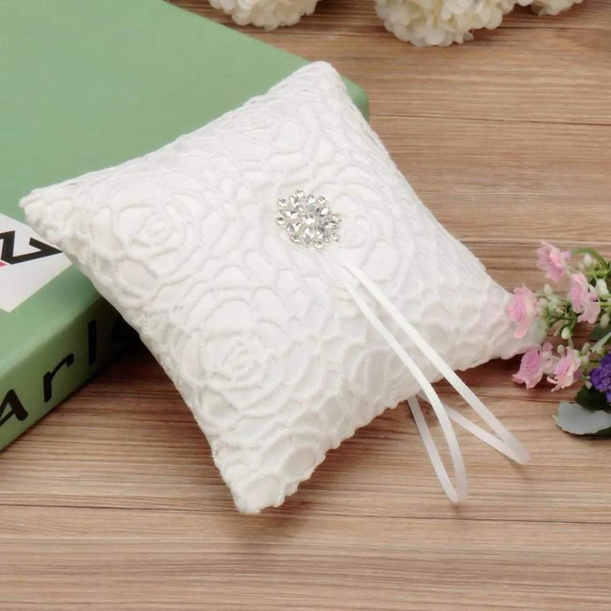 blanc oreiller anneau alliance coussin bague ruban strass floral mariage 15x15cm