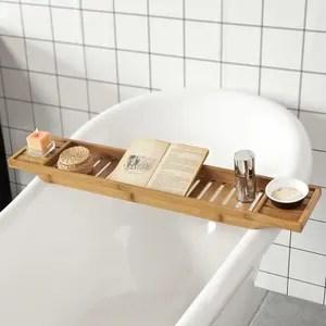 set accessoires sobuy frg212 n pont de baignoire en bambou porte