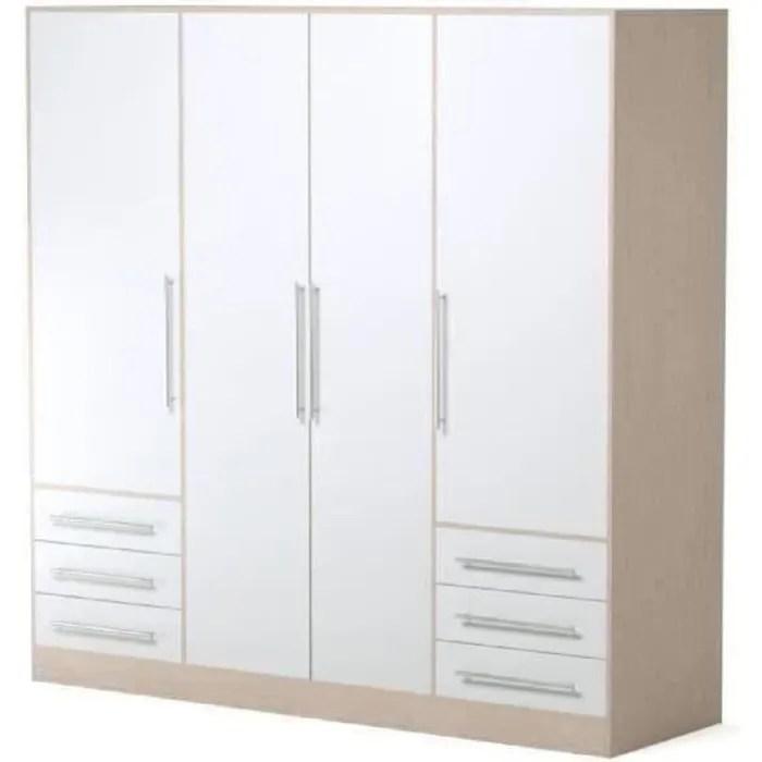 jupiter armoire de chambre style contemporain en bois agglomere blanc et chene l 206 5 cm