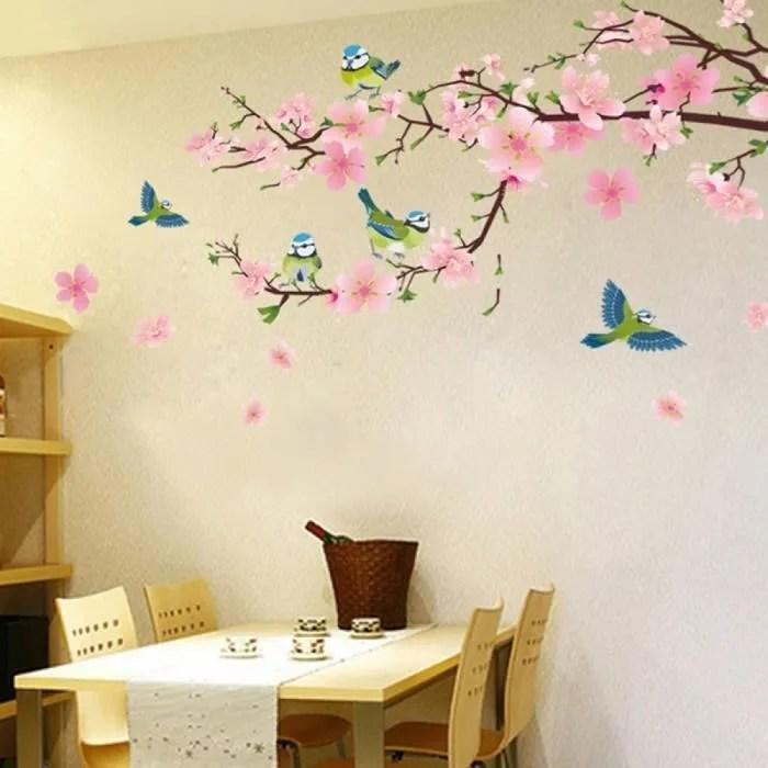 3d Rose Fleur Avec Vert Oiseaux Stickers Muraux Salon