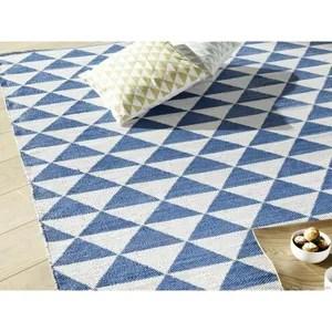tapis tapis plastique tisse main rendu coton motif trian