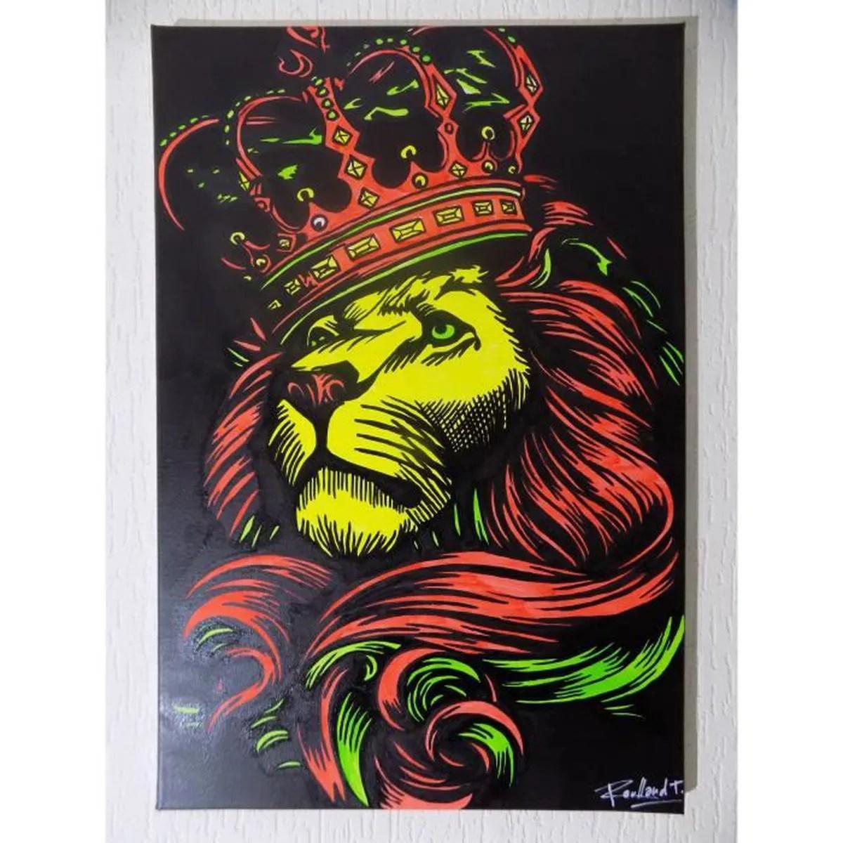 Tableau LION RASTA Peinture Rastafari Afrique Vert Jaune