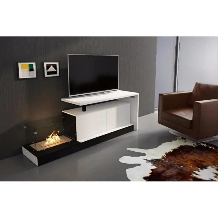 ensemble de meubles ensemble sejour salle a manger modernes et extensibles avec cheminee au bio ethanol et bureau