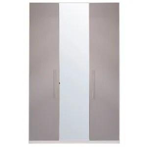 armoire de chambre armoire taupe brillant 3 portes joyce l 150 x