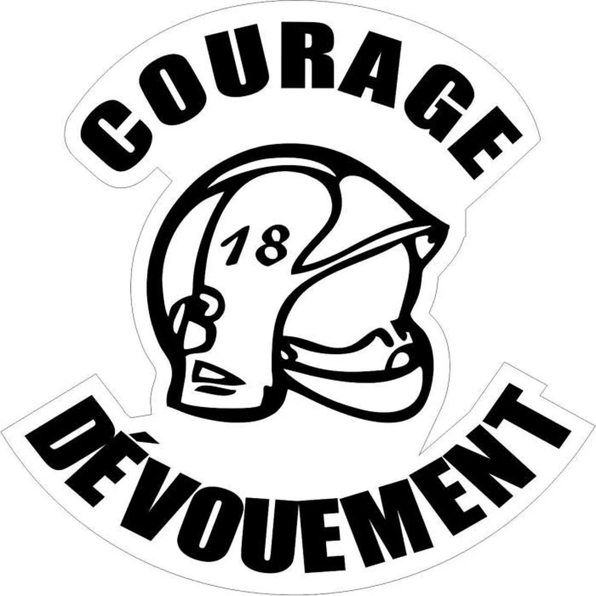Autocollant Sticker Pompier Casque Courage R1