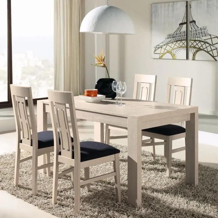 ensemble table a allonges chaises decor chene clair afia taille l 202 142 x l 85 x h 76 couleur marketing bois clair