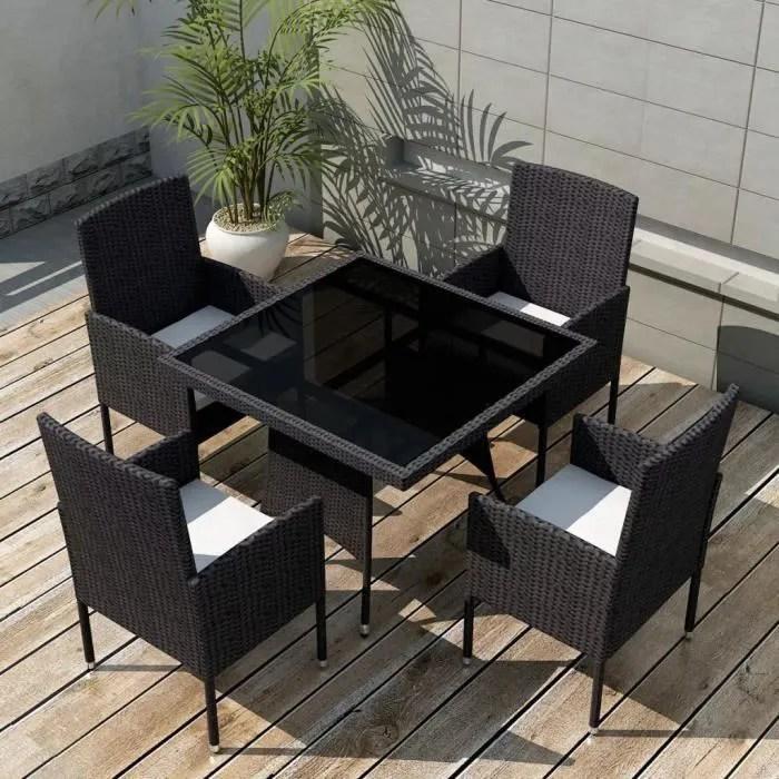 9 pcs jeu de mobilier de jardin ensemble table chaise faute de jardin noir resine tressee