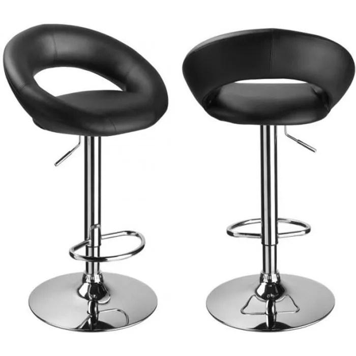 lot de 2 tabourets de bar rembourre simili cuir design rond noir 1209097