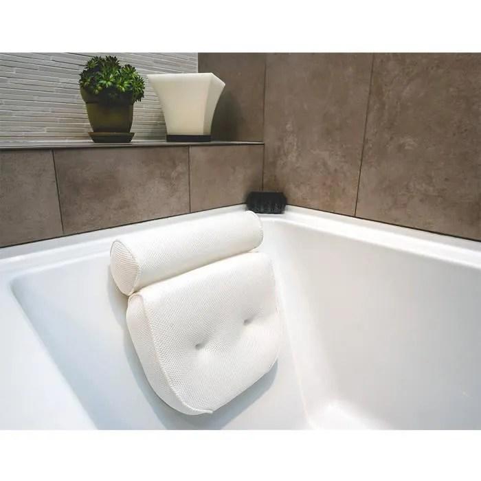 coussin blanc de baignoire coastacloud oreiller de bain avec de grandes ventouses support pour la tete la nuque et les epaules