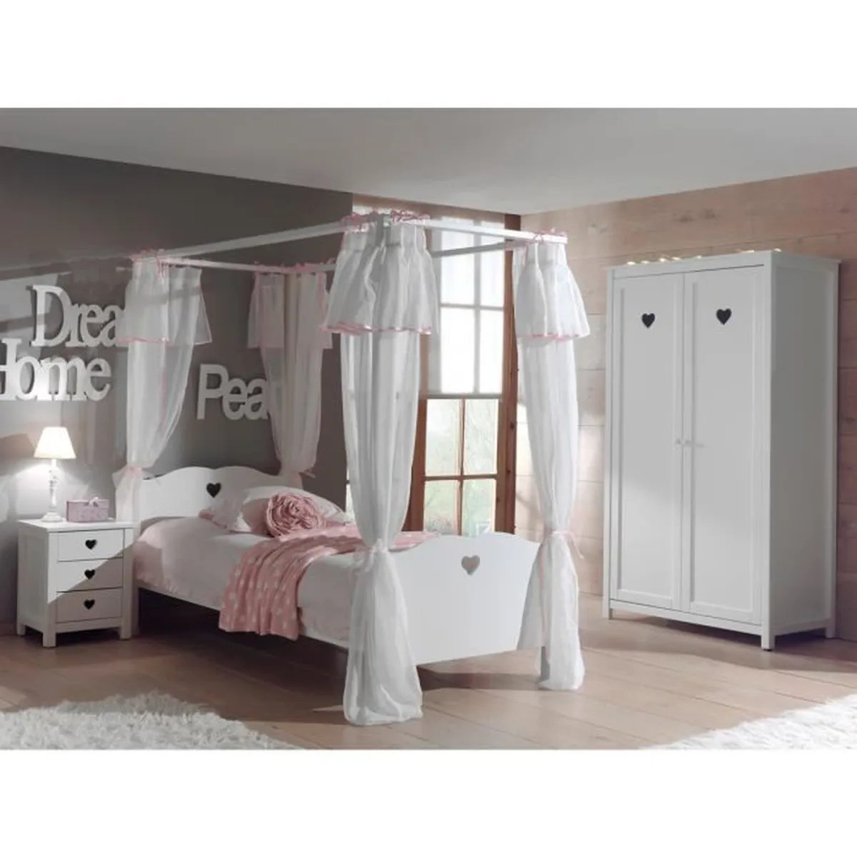 chambre complete chambre enfant lit baldaquin en bois blanc 90x200