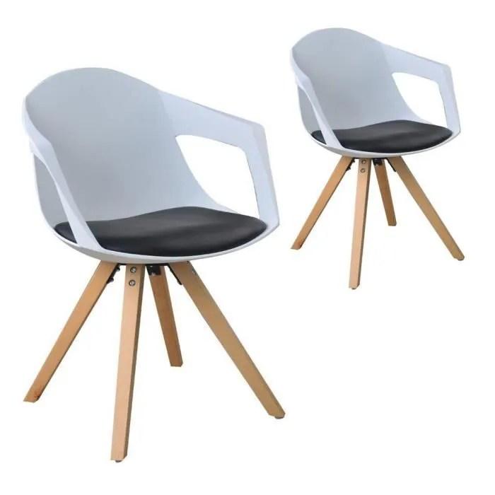 chaise lot de 2 chaises a nordiques scandinave bois avec