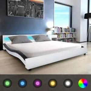 lit complet cadre de lit lit adulte avec led 180 x 200 cm cuir