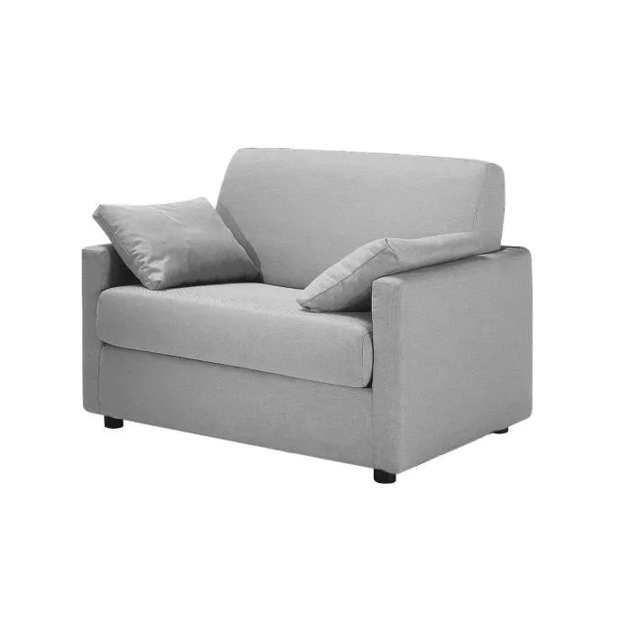 Fauteuil Convertible Tissu Gris Clair 1 Place F Achat