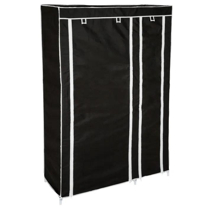 tectake armoire de rangement etagere garde robe meuble penderie 6 compartiments en tissu 107 cm x 175 cm x 45 cm noi