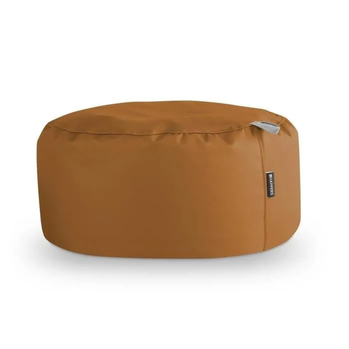 happers pouf rond cuir artificiel interieur chameau