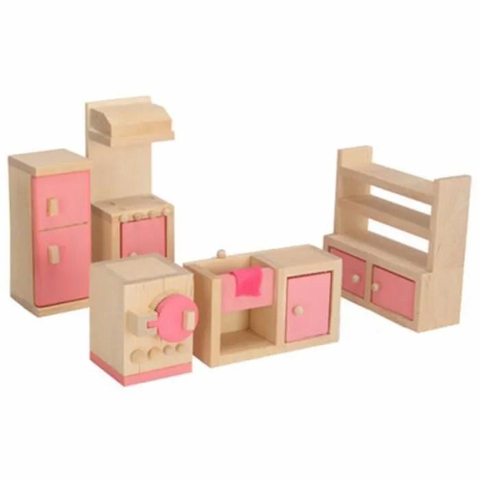 bois miniature dollhouse meubles jouets set chambre cuisine diner salle de bain salon jeux de simulation de jouet pour fille