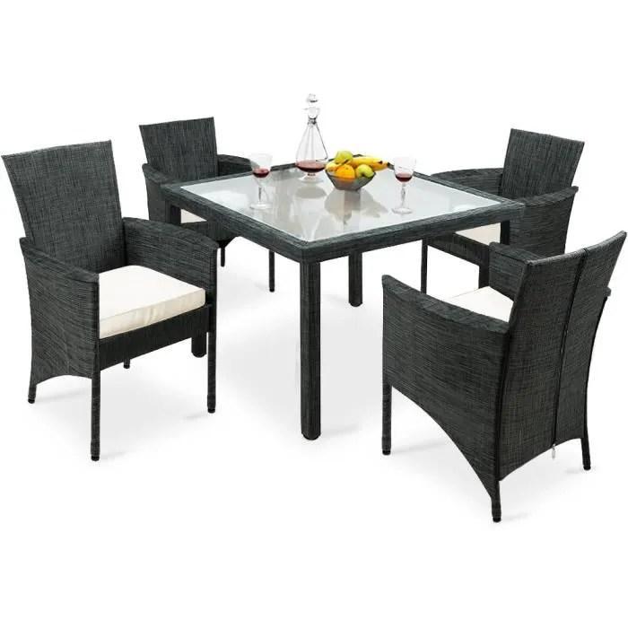 salon de jardin 1 table 4 chaises plateau de table en verre jardin terrasse
