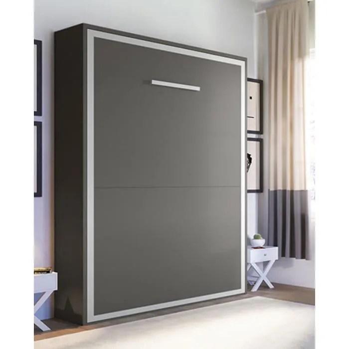 armoire lit escamotable 2 places joy 160 x 200 pieds a retournement automatique gris mat