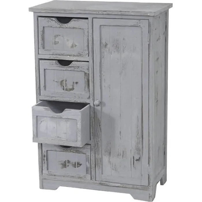 commode armoire 82x55x30cm shabby chic vintage gris