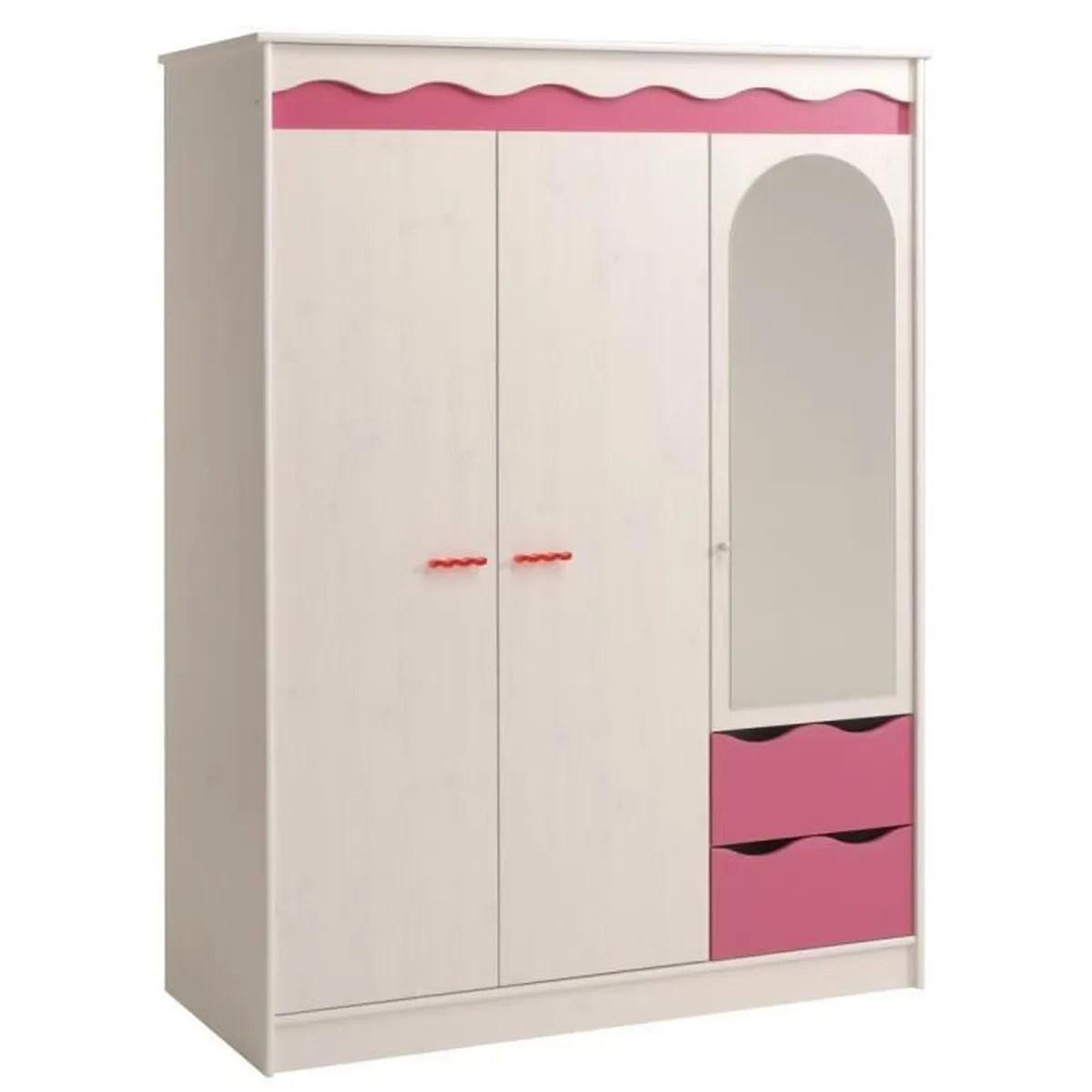 armoire de chambre garde robe classique pour enfant a 3 portes dont 1