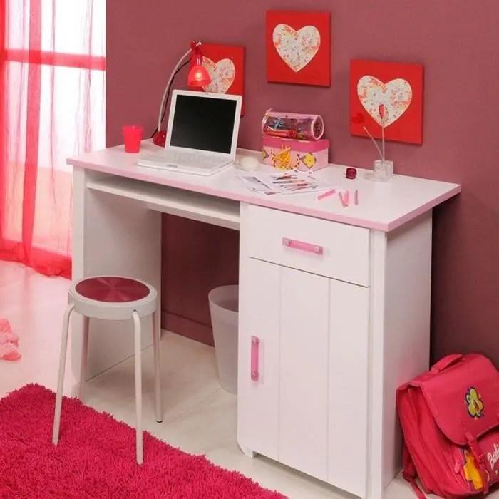 Bureau Blanc Et Rose Pour Chambre Fille L 121 X H 77 X P