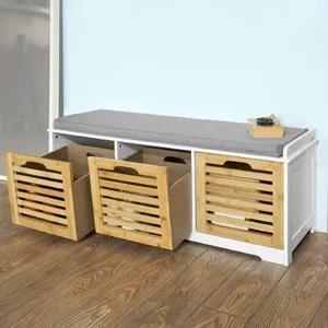 banc de rangement avec coussin rembourre et 3 cubes meuble d entree commode a chaussure banquette confortable