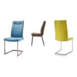 chaise chaise malene en tissu pied traineau inox carre