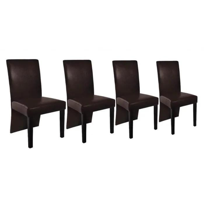 Chaise Design Bois Marron Lot De 4 Achat Vente