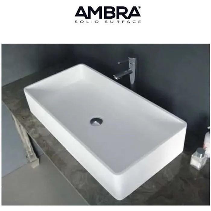 lavabo vasque vasque double rectangulaire 80 cm en solid surface