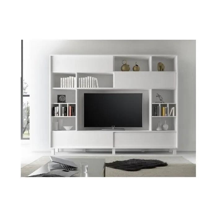 meuble tv bibliotheque rangement alfe 240 x 203 x 40 blanc