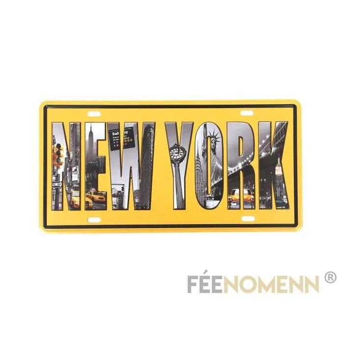 Objet Dcoration Murale Plaque Mtal Vintage New York With