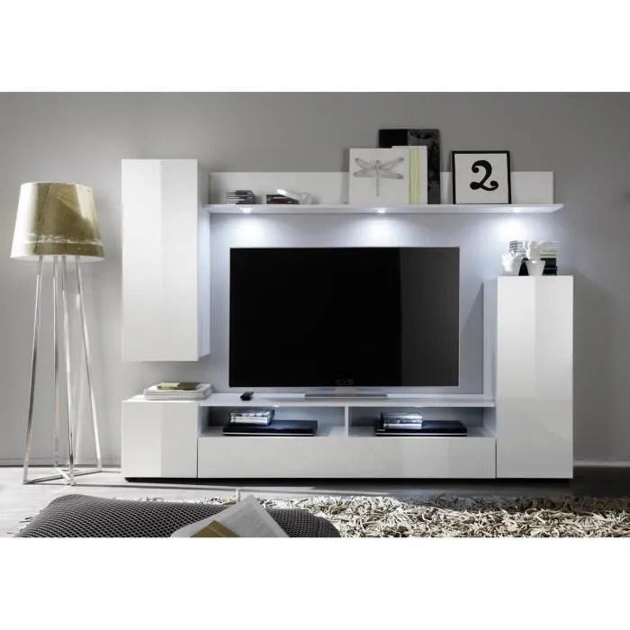 dos meuble tv mural 208cm blanc brillant