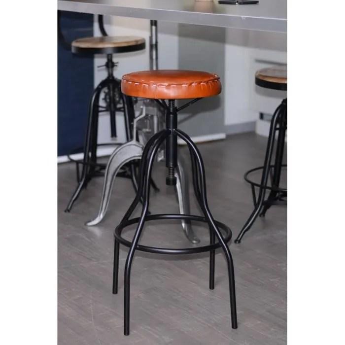 tabouret de bar industriel metal et cuir reglable meuble house marron