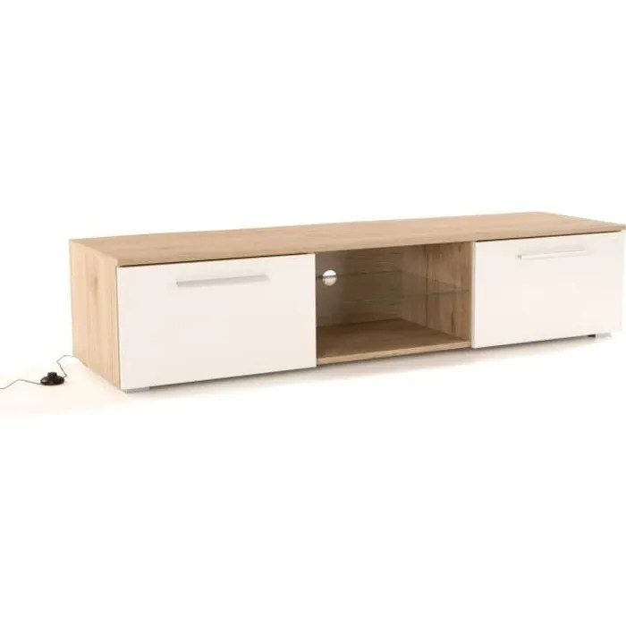 chicago meuble tv led contemporain melamine decor chene et blanc brillant plateau en verre l 160 cm