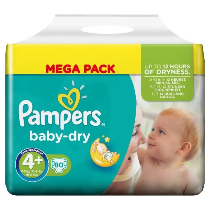 PAMPERS Baby Dry Taille 4 9 20 Kg 80 Couches Vert