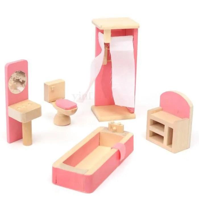 dinette cuisine ensemble de salle de bain miniature jouet en bois
