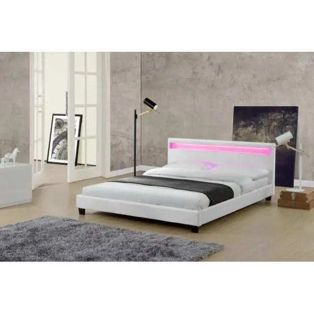 magnifique lit love 140x190cm cadre de lit led en pu cuir blanc