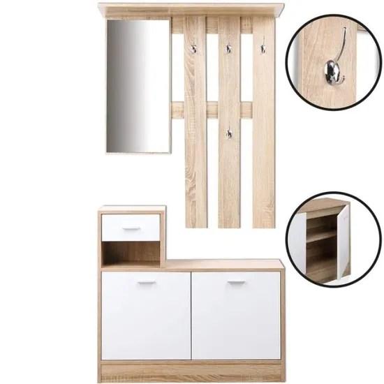 meuble vestiaire d entree portes blanches avec miroir achat vente meuble d entree meuble vestiaire d entree soldes des le 9 janvier cdiscount