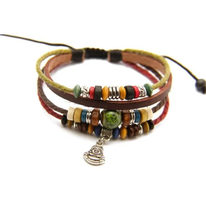 bracelet tibetain porte bonheur bouddha rieur