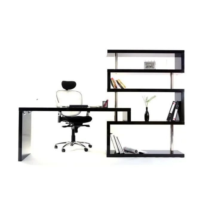 bureau design noir laque amovible t max