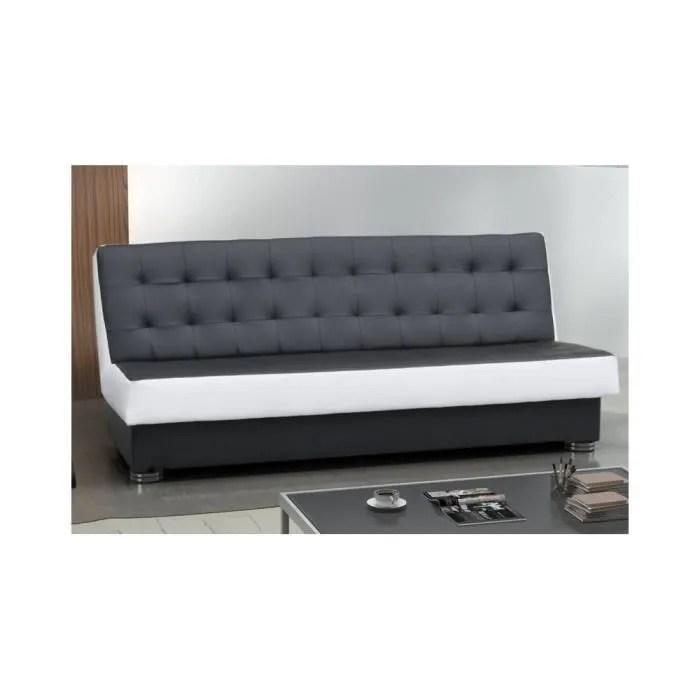 justhome klaudia canape en cuir ecologique noirxblanc lxp 195x90 cm