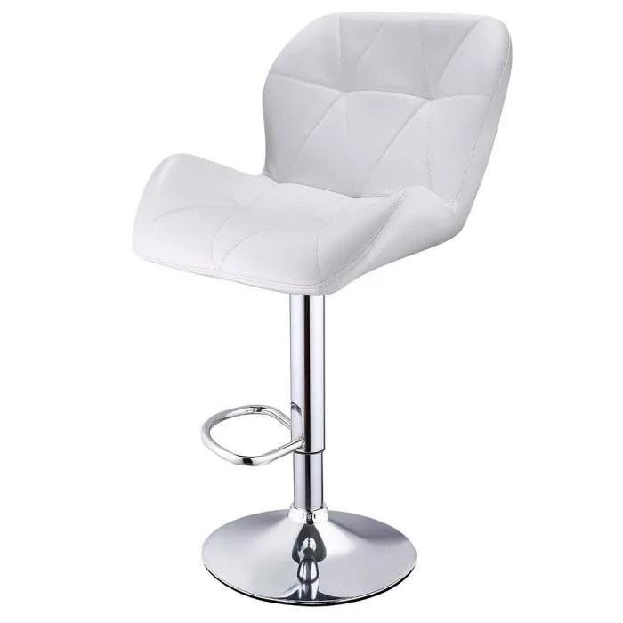 2 pcs chaise pivotante a barre accueil cuisine moderne bar chaise elevatrice reglable blanc