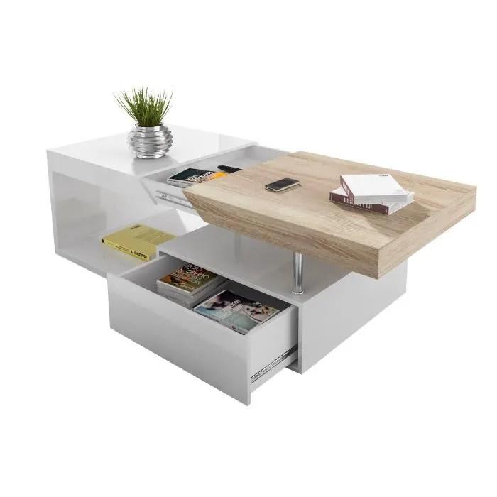 Table Basse Avec Rangement Coloris Blanc Laqu Et Bois