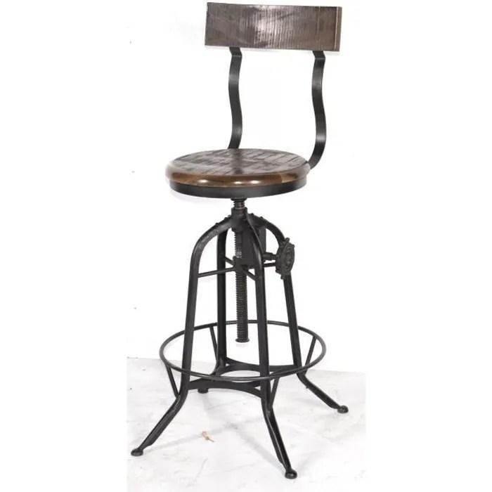 tabouret de bar industriel reglable avec dossier atelier grey meuble house noir