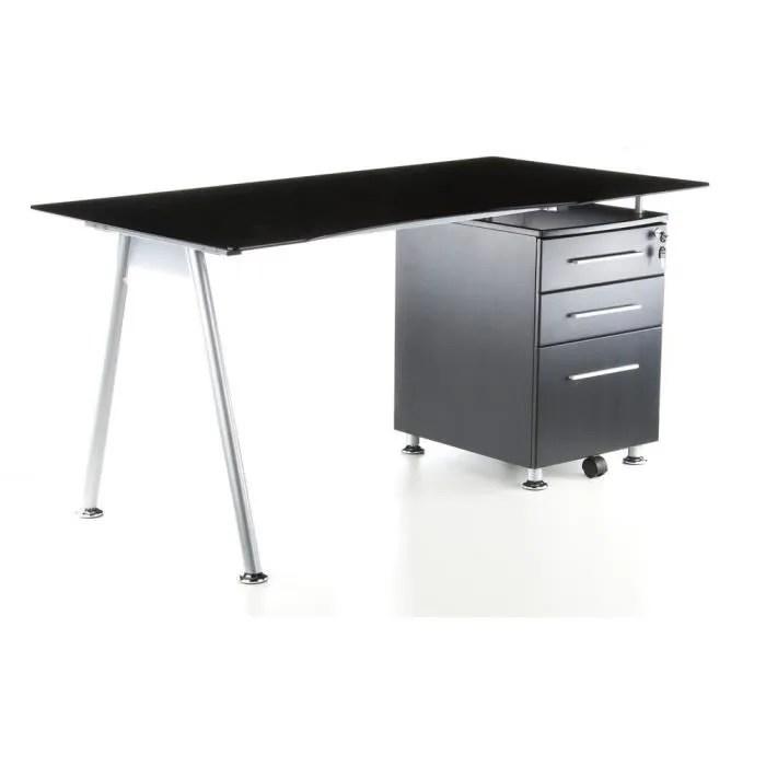 bureau bureau start up graphite verre noir avec cai